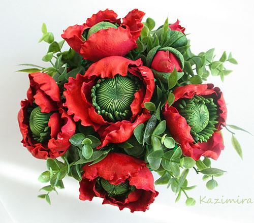 поделки цветы из глины, маки из полимерной глины