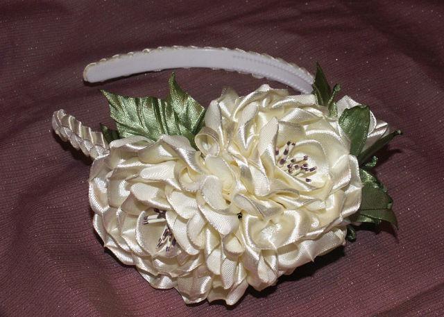 Цветок роза из атласной ленты