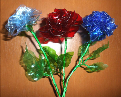 цветы розы из пластиковых бутылок, поделки цветы розы из бутылок, фото поделки цветы розы из бутылок