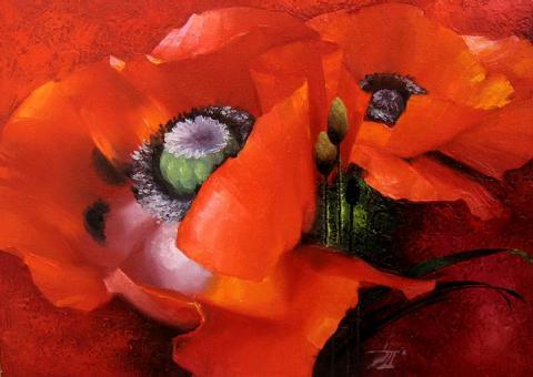 Живопись цветы: Красные на красном. Художник: Джафаров Эдуард