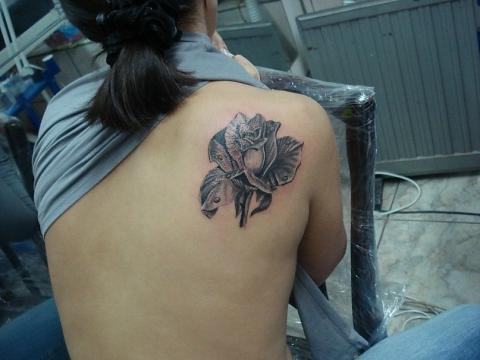 тату роза на спине женские
