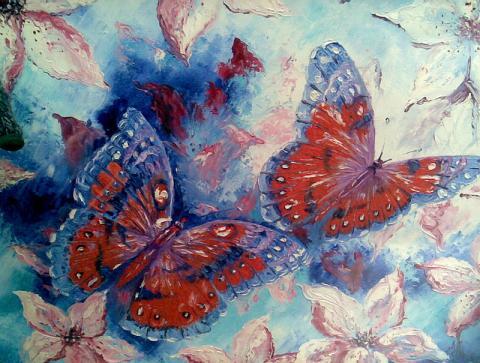 Живопись цветов: Бабочки в лилиях. Художник: Алексеенко Лариса