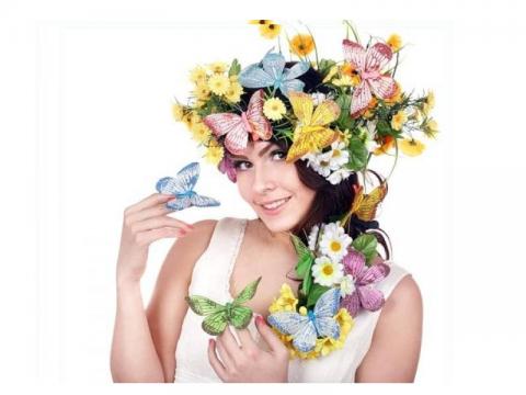 Девушки и цветы с бабочками в волосах