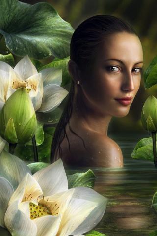 Девушка и цветы лотоса