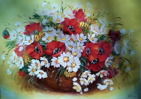 Живопись цветов: Корзина с маками и ромашками. Художник: Дрозда Наталья