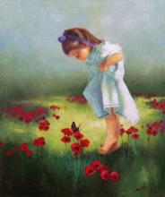 Цветок живопись: Девочка и бабочка. Художник Джафар Эдуард