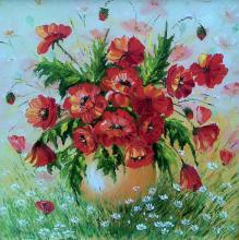 Цветок живопись: Маки в ромашках. Художник: Алексеенко Лариса